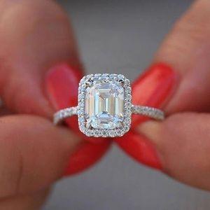 Jewelry - 14k White Gold Princess Diamond Engagement Ring